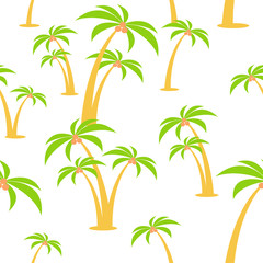 Cartoon vector flat seamless pattern. Palm trees with coconuts.
