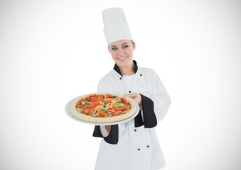 Chef with pizza against white background