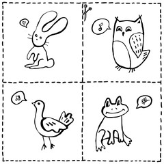 Vector set of cut out cards with cute animals, hand drawn doodles of baby animals and marks for cutting out and coloring