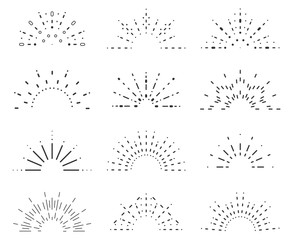 Radiant sunrise lineart design icons set template vector illustration