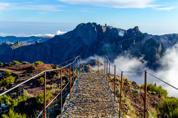 Clouds and peaks on top of the highest mountain of Madeira Pico Ruivo, Portugal