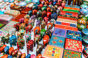 Colorful Indian street market, Goa.