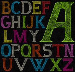 psychedelic acid color alphabet