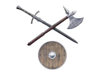 viking weapons isolated on white background