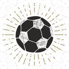 Vintage label, Hand drawn Football, soccer ball sketch, grunge textured retro badge, typography design t-shirt print, vector illustration