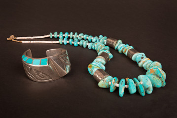 Antique Native American Sterling Silver Hollow-Form Cuff Bracelet with Overlay and Turquoise Inlay, and Large Turquoise Nugget and Silver Necklace.