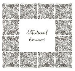 Medieval ornamental tile frame