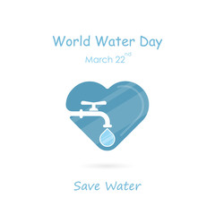 Water drop and water tap icon with heart shape vector logo design template.World Water Day icon.World Water Day idea campaign concept for greeting card and poster.
