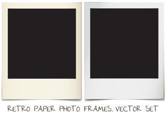 retro paper photo frames templates set