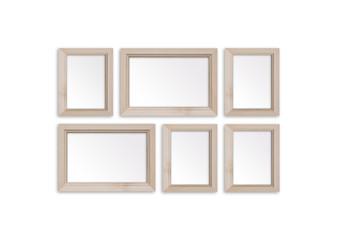 Six wooden photo frames set. Interior decor mock up