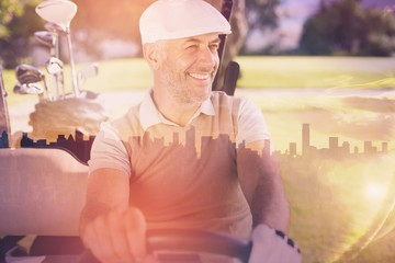 Composite image of cheerful golfer driving cart