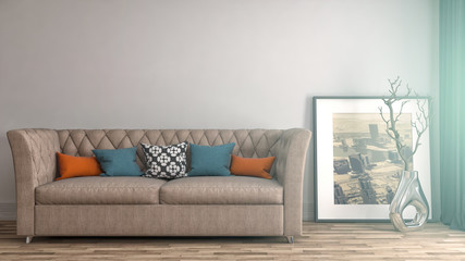 interior with sofa. 3d illustrationi