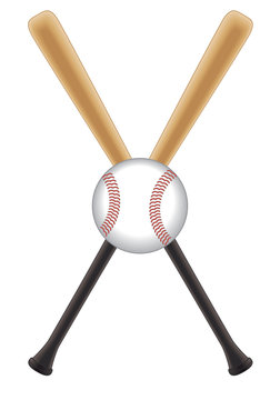 baseball bats crossed with baseball in centre