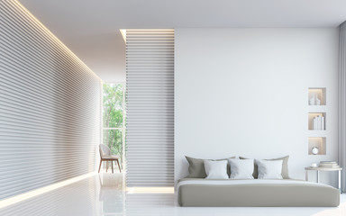 Modern white bedroom interior 3d rendering image.A blank wall with pure white. Decorate wall with extrude horizon line pattern and hidden warm light