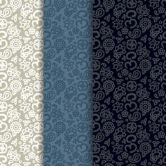 Buddhism paisley seamless pattern set