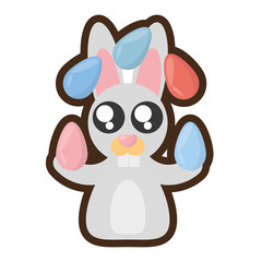 cartoon easter bunny many eggs colored vector illustration eps 10