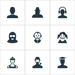 Vector Illustration Set Of Simple Avatar Icons. Elements Postgraduate, Proletarian, Agent And Other Synonyms Graduate, Small And Business.
