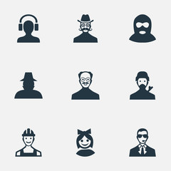 Vector Illustration Set Of Simple Member Icons. Elements Girl Face, Felon, Moustache Man And Other Synonyms Felon, Mustaches And Culprit.