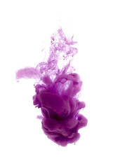 Colors dropped into liquid and photographed while in motion. Ink shape or swirling in water for design or decorate background or abstract banner on white isolate background.