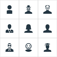 Vector Illustration Set Of Simple Human Icons. Elements Workman, Postgraduate, Internet Profile And Other Synonyms Postgraduate, Graduate And Insider.