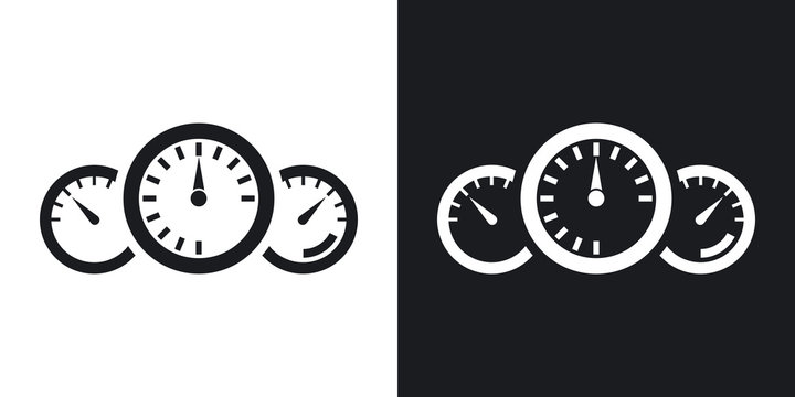 Vector dashboard icon. Two-tone version on black and white background