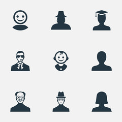 Vector Illustration Set Of Simple Human Icons. Elements Bodyguard, Spy, Portrait And Other Synonyms Young, Man And Student.