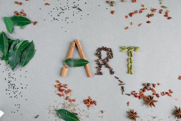 Word Art from green leaves and seasonings