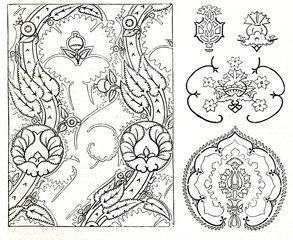 Pomegranate ornaments (from Meyers Lexikon, 1895, 7/858)