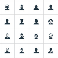 Vector Illustration Set Of Simple Member Icons. Elements Woman User, Whiskers Man, Girl Face And Other Synonyms Mustache, Worker And Avatar.