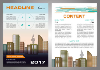 Vector flyer, corporate business, annual report, brochure design and cover presentation with orange and cyan color.