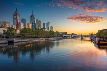Fototapete - City of Melbourne. Cityscape image of Melbourne, Australia during summer sunrise.