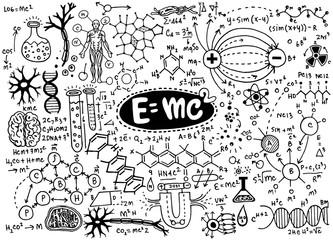 Vector illustration of scientific formulas and calculations in p