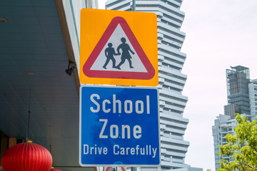 School crossing sign traffic warning they are entering a school zone