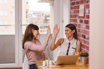 Portrait of two pretty businesswomen sitting in home office and giving high five