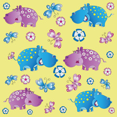 Fun zoo. Hippos. A child's drawing. Pink and blue begemoty. The cartoon characters. Design for pattern, textiles, children's books, the background image.