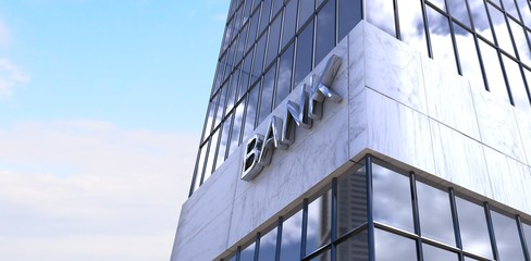 Composite image of low angle view of bank building