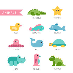 Set of cute animals painted on a white isolated background for children illustrations