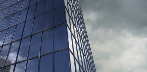 Composite image of reflection of sky on modern building