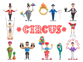 The set circus performers-creating a circus show in the arena, narisovana in flat cartoon style isolated on white background