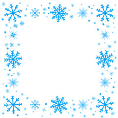 Christmas card with snowflakes frame.