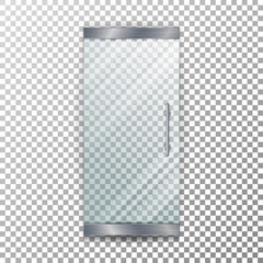 Glass Door Transparent Vector. Architectural interior symbol With Soft Shadow In Front Isolated On Checkered Background