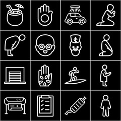 Set of 16 pictogram outline icons