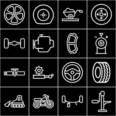 Set of 16 wheel outline icons