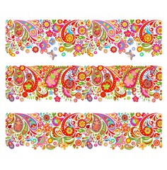 Summery seamless borders with decorative colorful flowers print