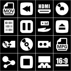 Set of 16 multimedia filled icons