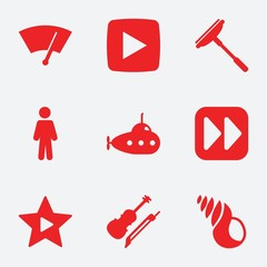 Set of 9 sign filled icons