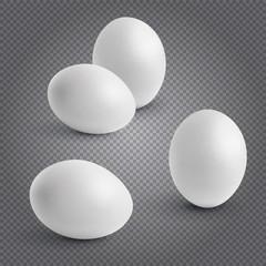 Set realistic chickens of egg. Easter, chicken, orange, birth. 3D vector illustration