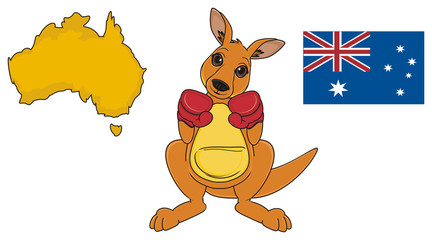 Animal, cartoon, zoo, Australia, continent, mascot, beige, jump, fight, jump, kangaroo, mushroom, toy, map, flag,  boxing, gloves, stand