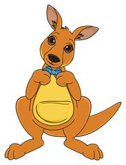 Animal, cartoon, zoo, Australia, continent, mascot, beige, jump, fight, jump, kangaroo, mushroom, toy, stand, boy, blue, bow
