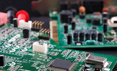 electronic circuit board with microchip